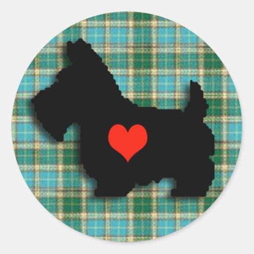 Pegatina del corazón del amor del escocés