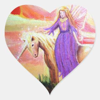 Pegatina del corazón del ángel y del unicornio