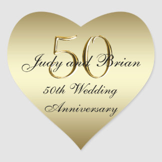 Pegatina del corazón del aniversario de boda del