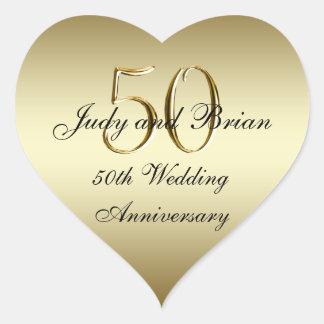 Pegatina del corazón del aniversario de boda del n