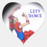 Pegatina del corazón del bailarín del flamenco