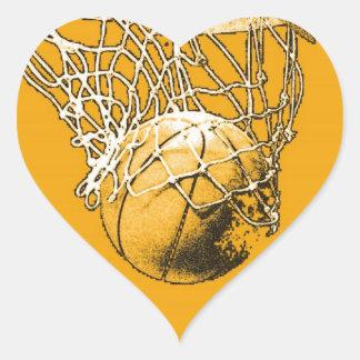 Pegatina del corazón del baloncesto del arte pop