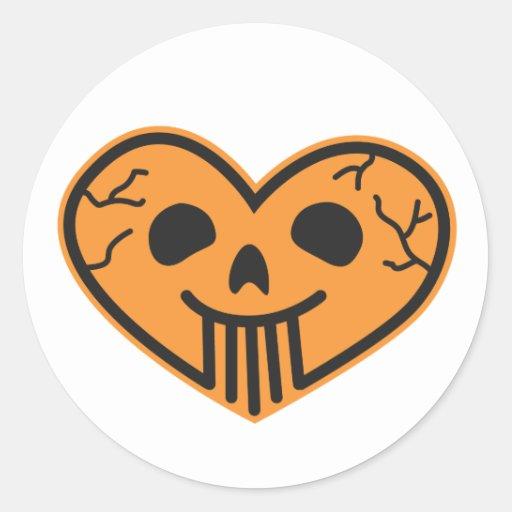 Pegatina del corazón del cráneo de Halloween