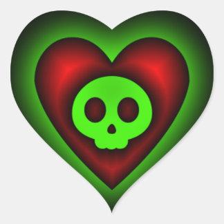 Pegatina del corazón del cráneo del fantasma