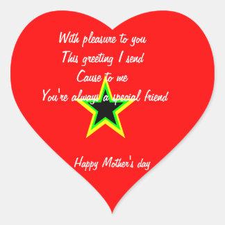 Pegatina del corazón del día de madre