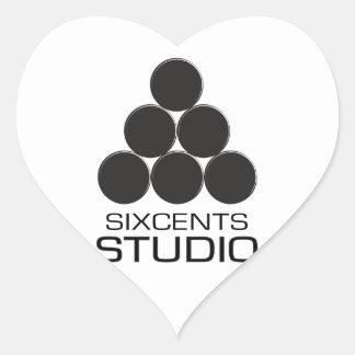 Pegatina del corazón del ESTUDIO de SIXCENTS