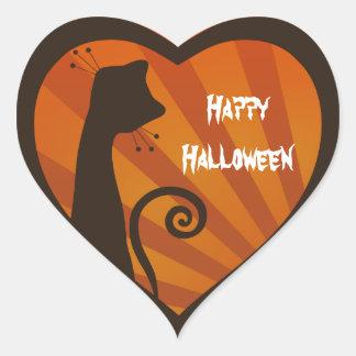 Pegatina del corazón del feliz Halloween