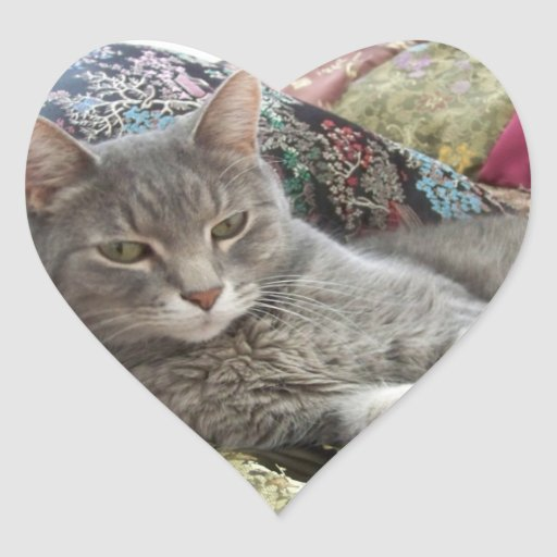 Pegatina del corazón del gato de las abrazos