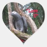 Pegatina del corazón del gris africano