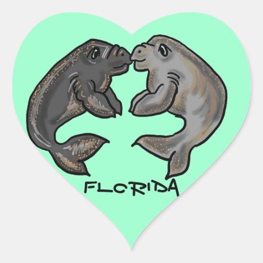 Pegatina del corazón del manatee de la Florida