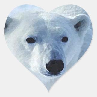Pegatina del corazón del oso polar