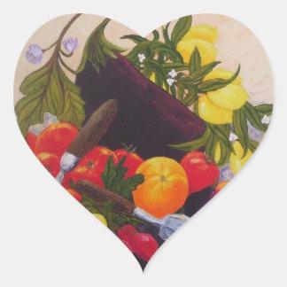 Pegatina del corazón del relevo de la fruta y de