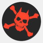 Pegatina del cráneo del diablo rojo