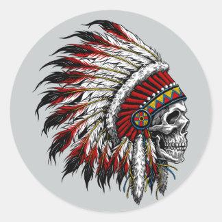 Pegatina del cráneo del nativo americano