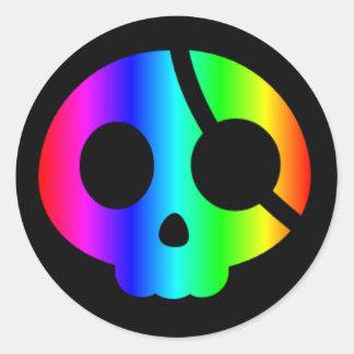 Pegatina del cráneo del pirata del arco iris
