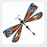 Pegatina del cuadrado de la libélula del vitral