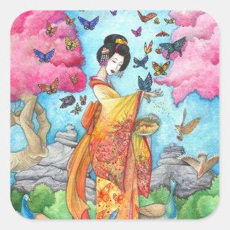 Pegatina del cuadrado de la mariposa del geisha de