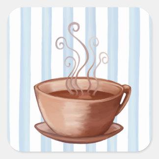 Pegatina del cuadrado de la taza de café