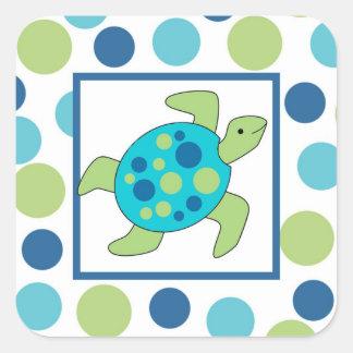 Pegatina del cuadrado de la tortuga de mar