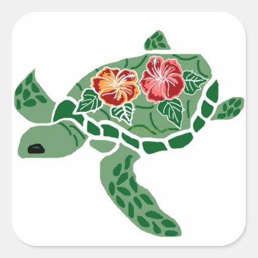 Pegatina del cuadrado de la tortuga de mar del