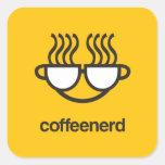 Pegatina del cuadrado del empollón del café