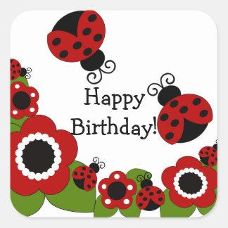 Pegatina del cuadrado del feliz cumpleaños de la