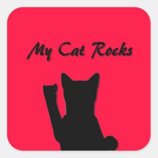 Pegatina del cuadrado del gato de Rockin