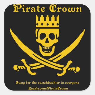 Pegatina del cuadrado del logotipo de la corona de