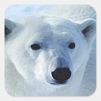 Pegatina del cuadrado del oso polar