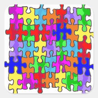 Pegatina del cuadrado del pedazo del rompecabezas