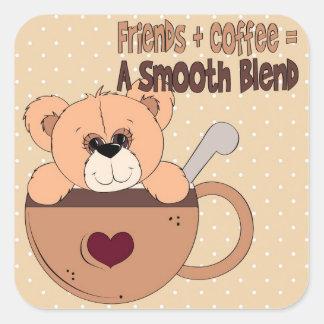 Pegatina del cuadrado del tiempo del café