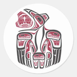 Pegatina del cuervo del Haida