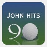 Pegatina del cumpleaños de la pelota de golf para