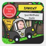 Pegatina del cumpleaños de los niños: Policía