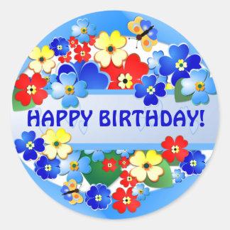 Pegatina del cumpleaños del ~ del jardín de flores