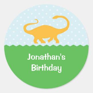 Pegatina del cumpleaños del dinosaurio