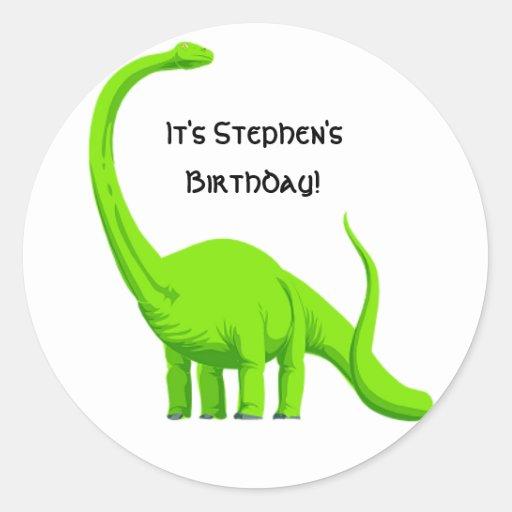 Pegatina del cumpleaños del fiesta del dinosaurio