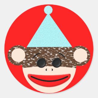 Pegatina del cumpleaños del mono del calcetín