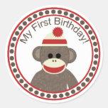 Pegatina del cumpleaños del mono del calcetín prim