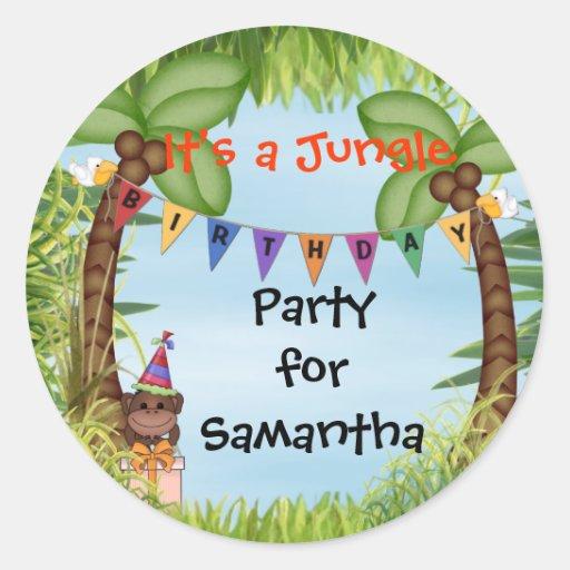 Pegatina del cumpleaños del mono del safari de sel