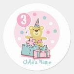Pegatina del cumpleaños del oso de peluche -