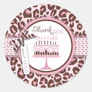 Pegatina del cumpleaños TY del chica del guepardo