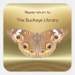 Pegatina del ~ del Bookplate 2 de la mariposa del