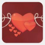 Pegatina del día de fiesta, corazón de la tarjeta