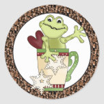 Pegatina del día de fiesta de la rana del café del