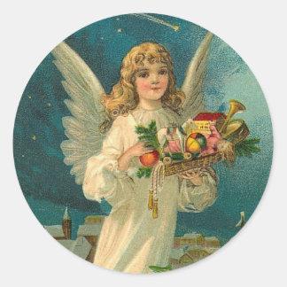 Pegatina del día de fiesta del navidad del ángel d