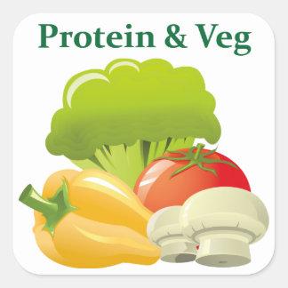 Pegatina del día de la proteína y de Veg
