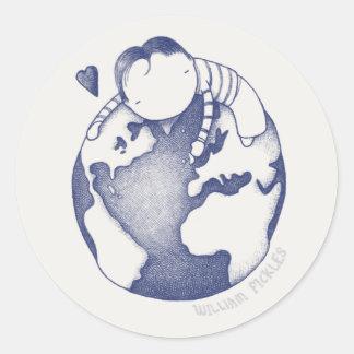 Pegatina del Día de la Tierra - azul en la crema