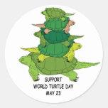 Pegatina del día de la tortuga del mundo de la