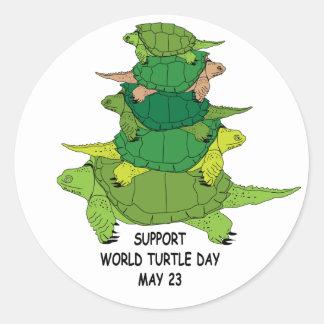 Pegatina del día de la tortuga del mundo de la ayu